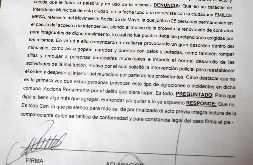 Lovey denunció penalmente a piqueteros del 25 de mayo 3