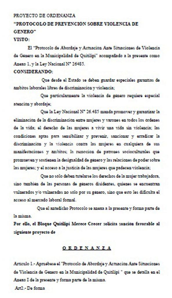 Aprobaron el protocolo de abordaje y actuación ante situaciones de violencia de género en la Municipalidad 9