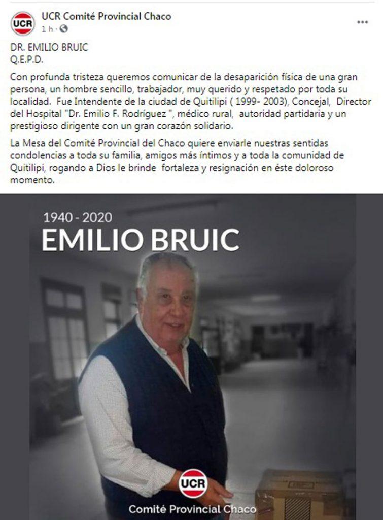 Profundo pesar por el fallecimiento del médico y ex intendente radical Emilio Bruic 12
